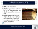 critical concerns for acb3