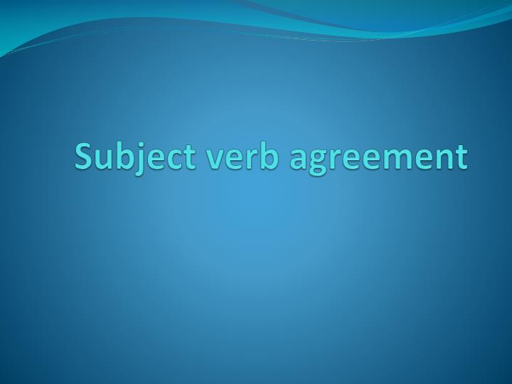 subject verb agreement n.