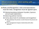 ethical considerations when working with sponsors and partners
