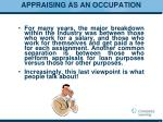 appraising as an occupation