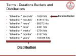 terms durations buckets and distributions