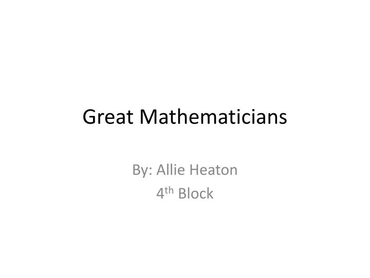 great mathematicians n.