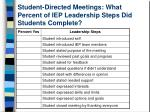 student directed meetings what percent of iep leadership steps did students complete