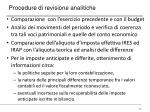 procedure di revisione analitiche