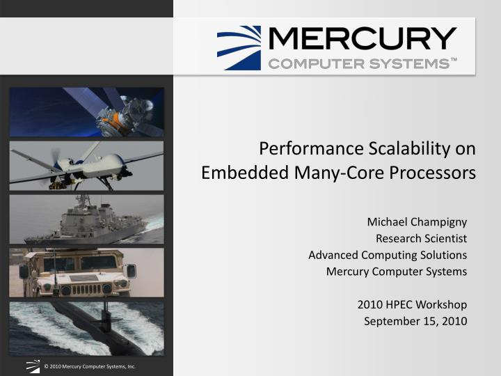 performance scalability on embedded many core processors n.