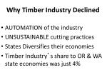 why timber industry declined