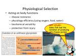 physiological selection