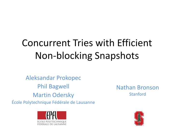 concurrent tries with efficient non blocking snapshots n.