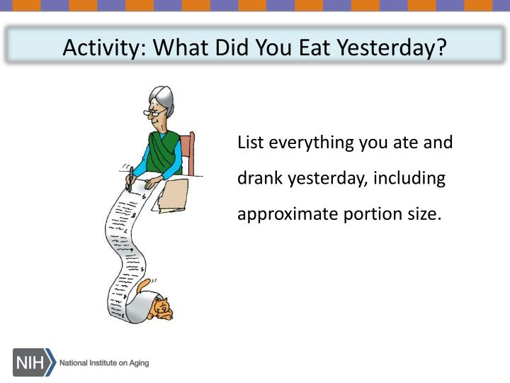 Activity: What Did You Eat Yesterday?