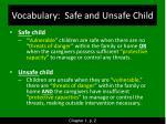 vocabulary safe and unsafe child