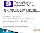 the application agreement section