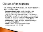 classes of immigrants