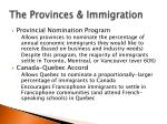 the provinces immigration