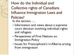 how do the individual and collective rights of canadians influence immigration laws and policies