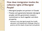 how does immigration involve the collective rights of aboriginal people