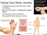 taking your pulse activity