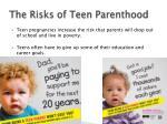 the risks of teen parenthood