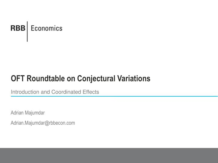 oft roundtable on conjectural variations n.