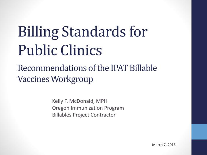 billing standards for public clinics n.