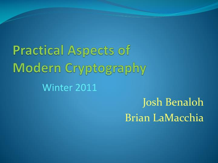 practical aspects of modern cryptography n.