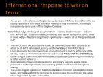 international response to war on terror
