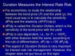 duration measures the interest rate risk