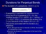 durations for perpetual bonds