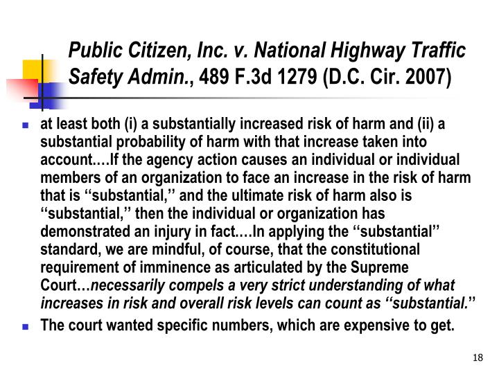 Public Citizen, Inc. v. National Highway Traffic Safety Admin.