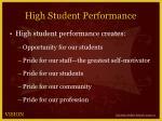 high student performance