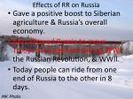 effects of rr on russia