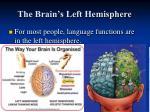 the brain s left hemisphere