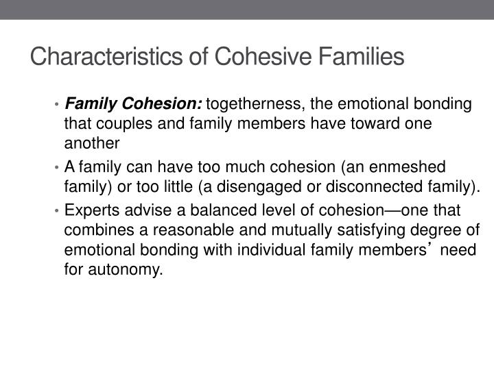 Characteristics of Cohesive Families