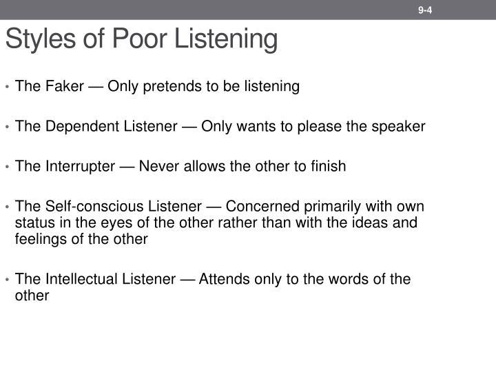Styles of Poor Listening