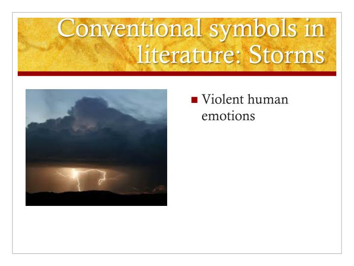 Conventional symbols in literature: Storms