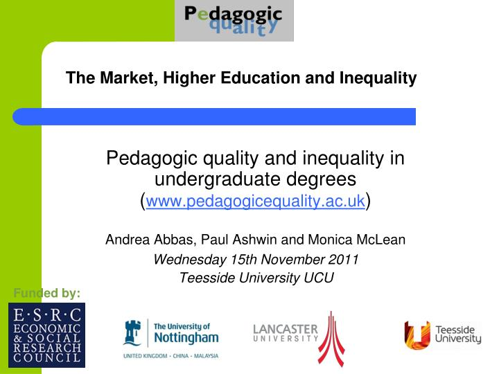 the market higher education and inequality n.