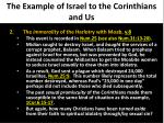 the example of israel to the corinthians and us2