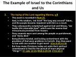 the example of israel to the corinthians and us3