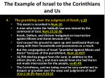 the example of israel to the corinthians and us4