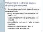 vii comment rendre les langues africaines performantes