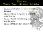 direction values goals behavior self value