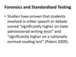 forensics and standardized testing