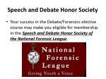 speech and debate honor society