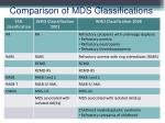 comparison of mds classifications