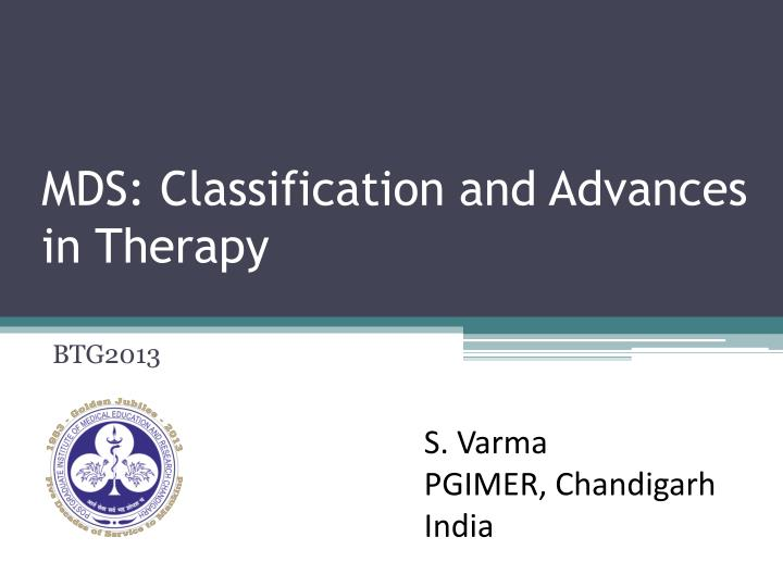 mds classification and advances in therapy n.