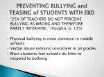 preventing bullying and teasing of students with ebd