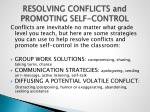 resolving conflicts and promoting self control