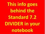 this info goes behind the standard 7 2 divider in your notebook