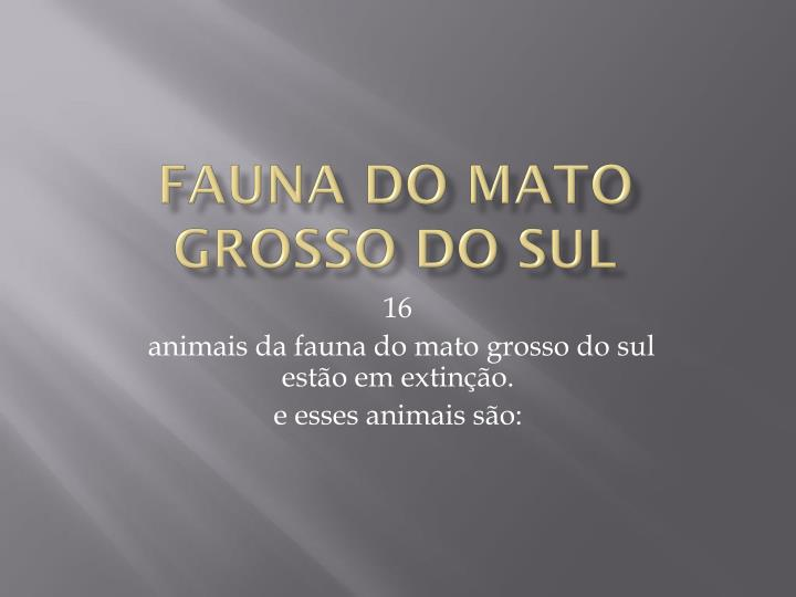 fauna do mato grosso do sul n.