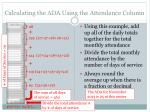 calculating the ada using the attendance column
