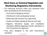 work done on technical regulation and monitoring regulatory instruments